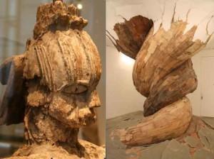 foto 10: Moeder met kind van de Urhubo (Niger rivierdelta) in het Louvre. foto 11: Moderne hout plastiek, die uit de vloer door het dak van Galerie Vallois lijkt te groeien, door Henrique Oliveira.